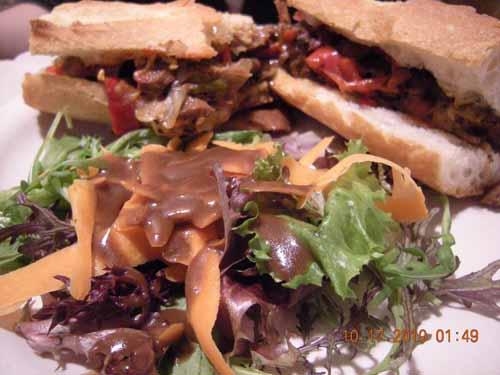 I really enjoyed this hearty sandwich. I like tucking the salad into my sandwich beforehand!