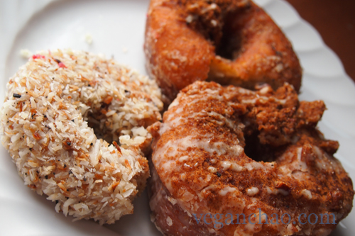 Clockwise from left: coconut, plain, and cinnamon pecan donut.