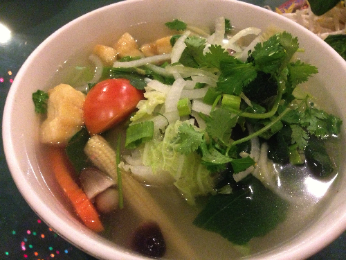 Topped with fresh parsley, this soup is chock-full of healthy veggies and filling fried bean curd pouches!