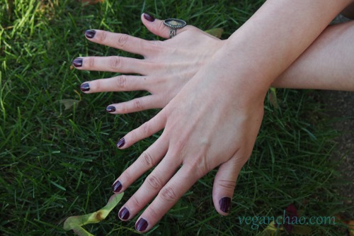 On nails: OPI's Lincoln Park After Dark, a great dark purple that complements fall looks.