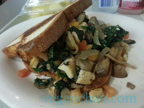 Breakfast sandwich disney world vegan art of animation