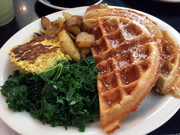 champs diner nyc brooklyn vegan meserole street belgian waffle combo