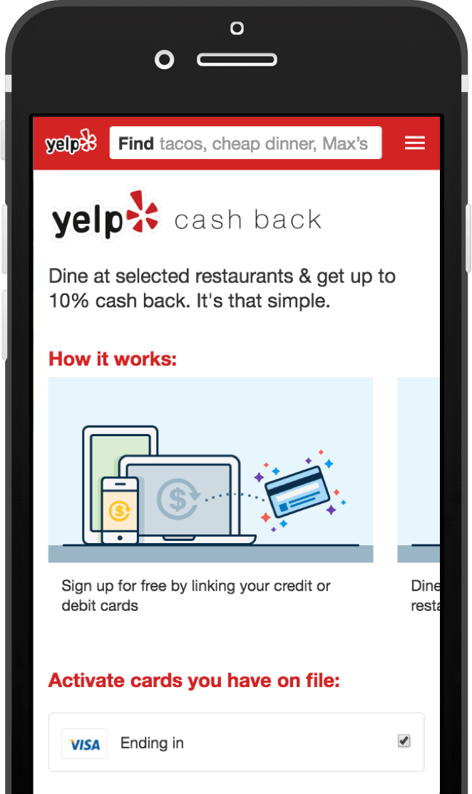yelp cash back program